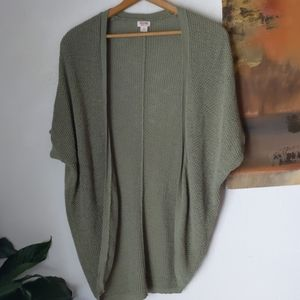 Olive green, long open sweater